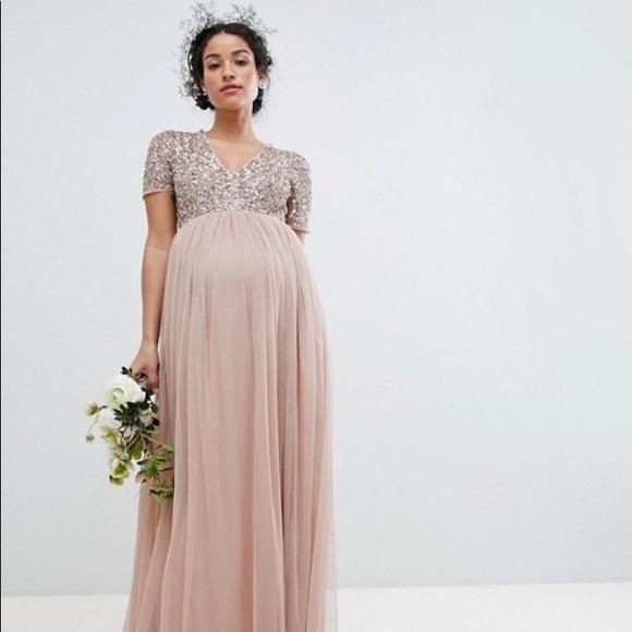 6b19d9741cf00 ASOS Maternity Dresses & Skirts - Maya Maternity v neck maxi tulle dress